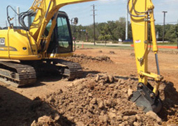dirt excavation with backhoe