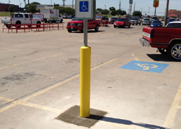 traffic control equipment and supplies in parking lot
