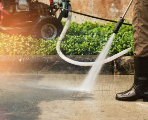 High pressure deep cleaning on pavement