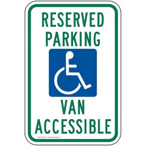 reserved parking van accessible sign for parking lots