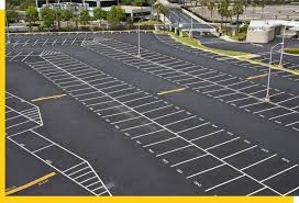 Parking lot striping project in Fort Worth